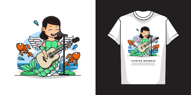 Cute mermaid girl singing while playing guitar with t-shirt mockup design