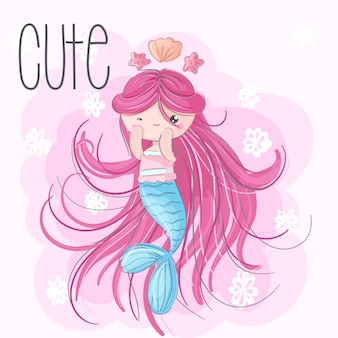 Cute mermaid  hand draw