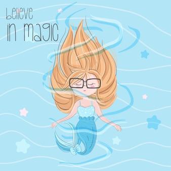 Cute mermaid hand drawn illustration-vector