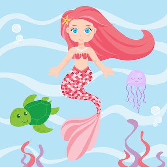 Cute mermaid and her friends