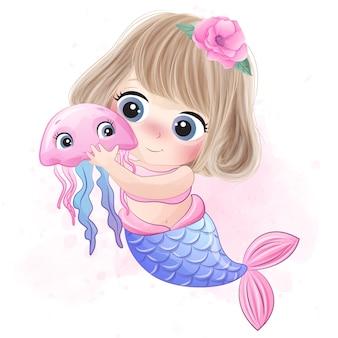 Cute mermaid hugging a little jellyfish