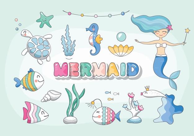 Симпатичная русалка иллюстрация
