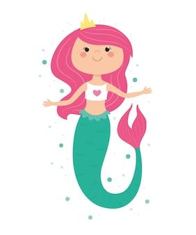 만화 스타일의 귀여운 인어 옷 스티커 포스터 벡터에 대 한 어린이 그림 인쇄