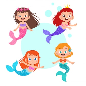Cute mermaid kid girl set bundle