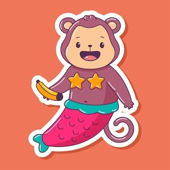 Милая обезьяна русалка с бананом мультипликационный персонаж животных, изолированные на белом фоне.