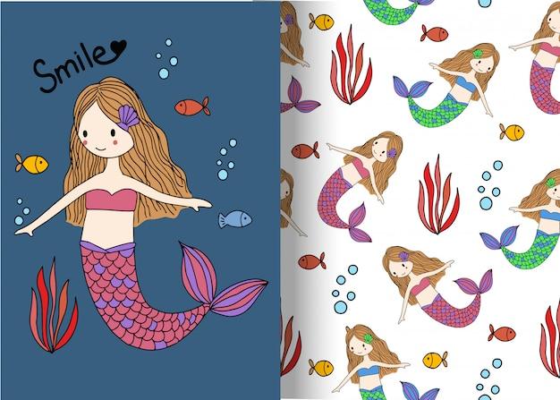 Cute mermaid pattern background