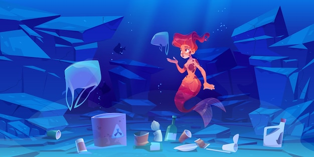Cute mermaid on polluted ocean bottom with plastic trash and toxic waste