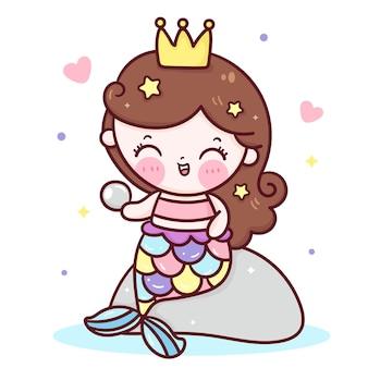 Милая русалка принцесса мультфильм держит жемчужину каваи иллюстрации
