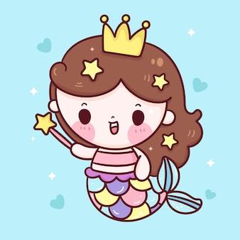 Милая русалка принцесса мультфильм держит звездную волшебную палочку каваи иллюстрации