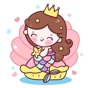 Милая русалка принцесса мультфильм обнять звездную рыбу на раковине каваи иллюстрация