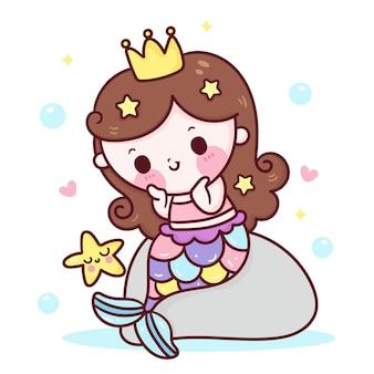 Симпатичная русалка принцесса мультфильм со звездной рыбой на скале каваи иллюстрация