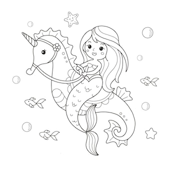 Cute mermaid riding a seahorse drawing coloring page illustration