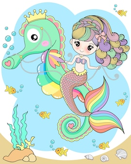 Cute mermaid riding a seahorse