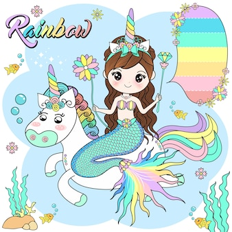 Cute mermaid riding a unicorn in the sea