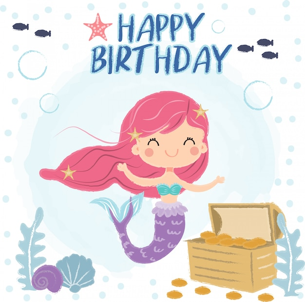 Cute mermaid  under the sea for birthday greeting card