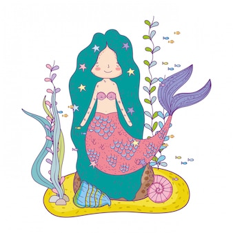 Cute mermaid under sea with seaweed