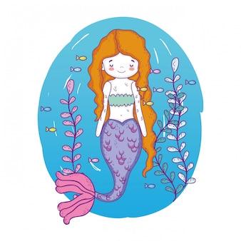 Cute mermaid under sea with seaweed