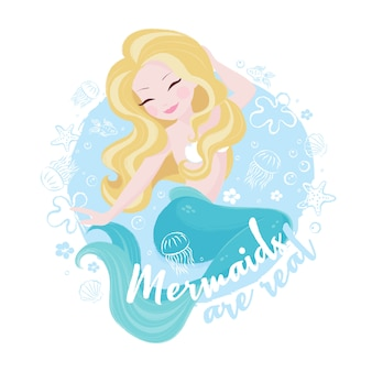 Cute mermaid on sea