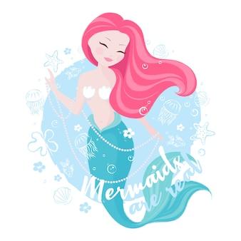 Cute mermaid on sea