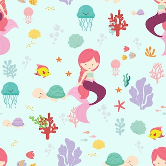 Cute mermaid seamless pattern background vector.