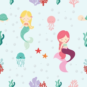 かわいい人魚のシームレスなパターン背景ベクトル。