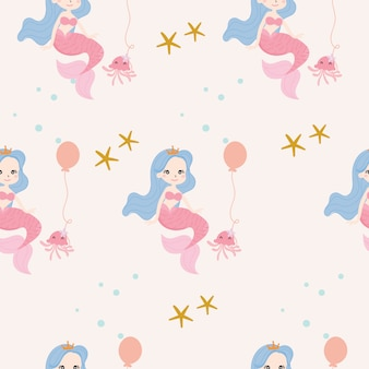 Cute mermaid seamless pattern background