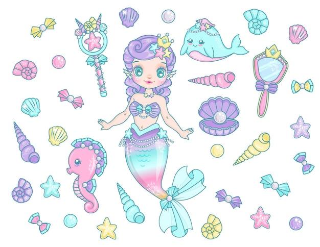 Cute mermaid set collection kawaii icons
