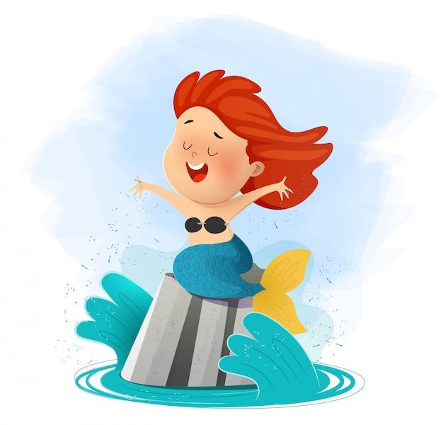 Cute mermaid sit on rock and singing song