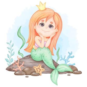 Милая русалка сидит на скале детская акварельная иллюстрация