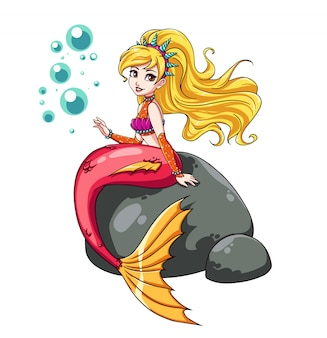 Cute mermaid sitting on rock. crown with shells, wavy blonde hair, shiny shirt, pink tail. hand drawn  art. can be used for children mobile games, books, stickers, cards, t-shirt design.