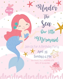 Cute mermaid theme birthday party invitation card vector illustration.