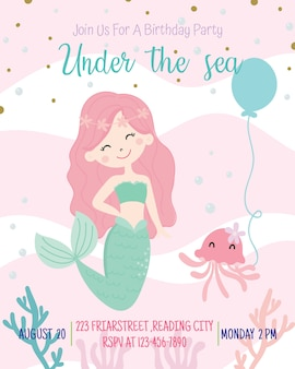 かわいい人魚テーマ誕生日パーティーの招待状カードのベクトル図です。