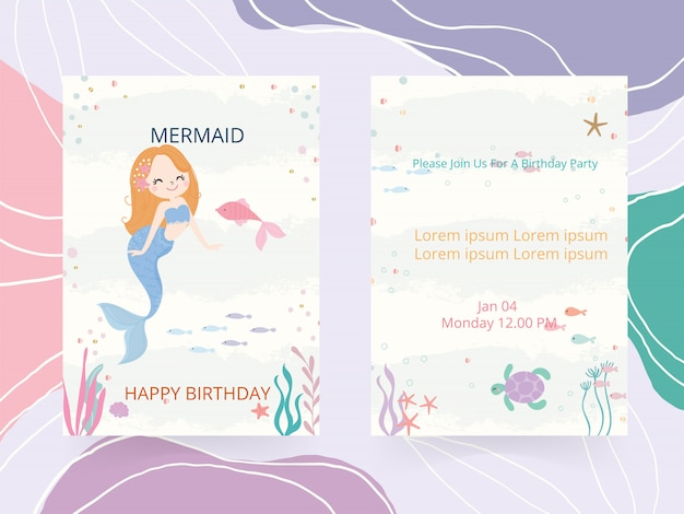 かわいい人魚のテーマの誕生日パーティーの招待状カードベクトルイラスト。