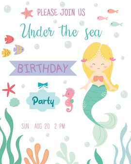 Cute mermaid theme birthday party invitation card.