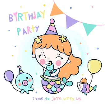 Cute mermaid   theme birthday party with friend