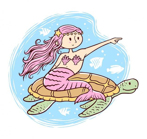 Cute mermaid and turtle illustration