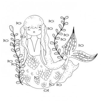 Милая русалка под морем с морскими водорослями