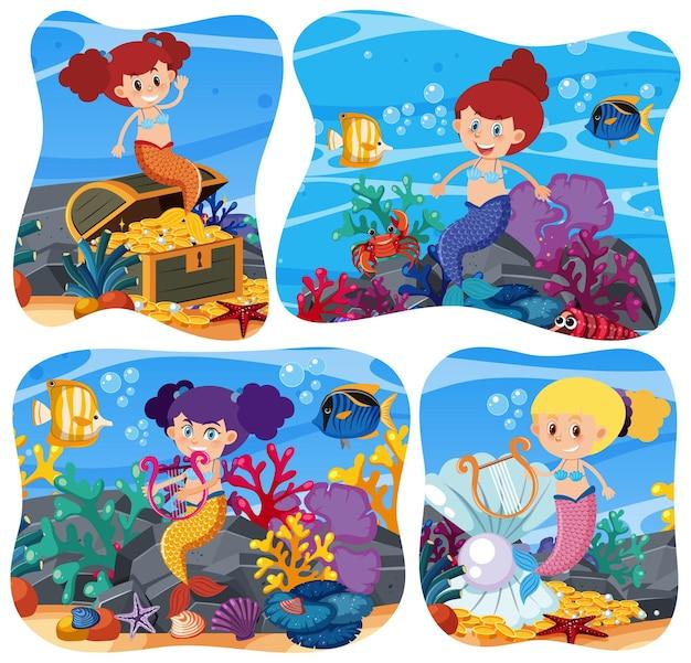 Cute mermaid in underwater background