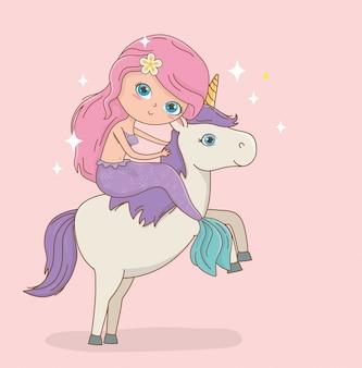 Carina sirena in caratteri fiabeschi unicorno