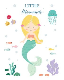Cute mermaid vector.
