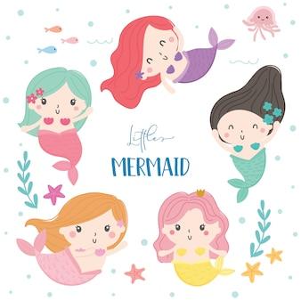 Cute mermaid vector.