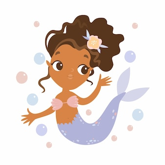Cute mermaid with bubbles
