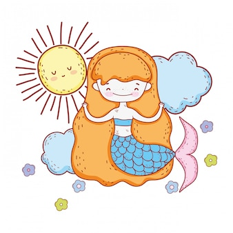Cute mermaid with clouds and sun
