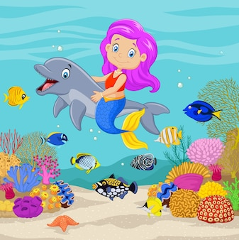 Cute mermaid with dolphin in the underwater background