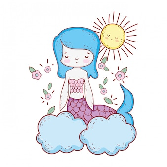 Cute mermaid with flowers in the cloud