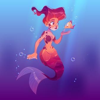 海の水中で小さな魚とかわいい人魚。