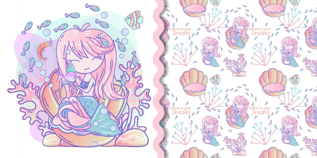 Cute mermaid with little fish vector illustration and seamless pattern