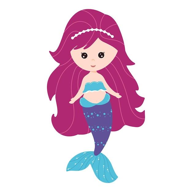 長い髪のかわいい人魚。子供向けの本、はがき、招待状のベクトルイラスト。孤立した白い背景、漫画スタイル。