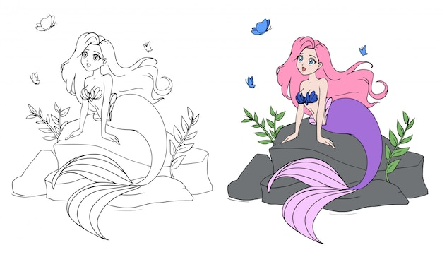 Cute mermaid with pink hair and violet tail sitting on stone.
