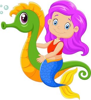 Cute mermaid with seahorse
